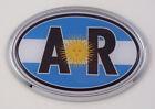 Argentina AR Flag Car Chrome Emblem Bumper Sticker flag decal oval