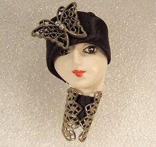 LADY HEAD doll FACE Porcelain-Look Resin Brooch Pin flapper butterfly Handmade