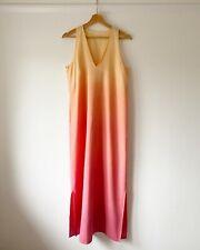 Vintage Rainbow Ombre Sunset Aura Maxi Dress UK 10/12 Cotton Linen
