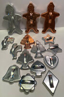 15 Vtg Aluminum Cookie Cutters Christmas Santas Trees Stars Silver Copper Colors