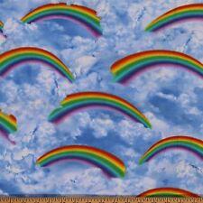 Cotton Blue Sky Clouds Rainbows Landscape Cotton Fabric Print by Yard D564.02