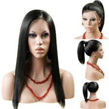 New Lace Front Straight Black Wig Hand Tied Glueless High Density Synthetic Hair