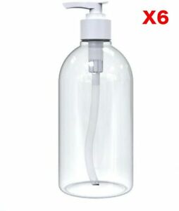 6 x 500ml Empty Clear PET Refillable Shampoo Bottles With Pump Dispensers