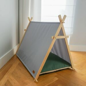 Bottle green dog tent, dog hut, dog waterproof bed with wooden stand, dog cabin