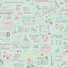 New Rasch Vintage Girls Kids  Room Wallpaper Duck Egg/Pink  Wallpaper 216714