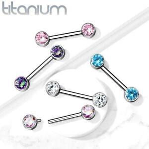 Implant Grade 23 TITANIUM Nipple Bar CZ Bezel Set Internally Threaded Ends 12mm