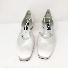 Stuart Weitzman Womens Pumps 9 B  White Satin Heels straps Shoes solid NWOB