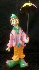 "Vintage 13"" Paper Mache Clown With Umbrella Signed Montiel Mexico"