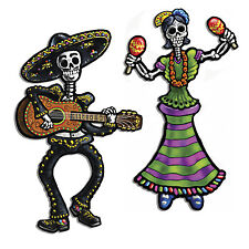"14"" Day of the Dead Jointed Skeletons Cardboard Cutout Hanging Decorations Party"