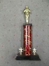 Male achievement trophy award wide base star trims red star oval column
