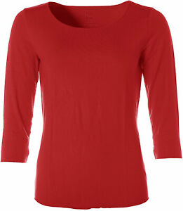 Jette Damen Basic 3/4-Arm Shirt T-Shirt Rundhals Rot 42 X4836