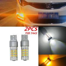 2pcs T20 7443 42 SMD LED Bulb Dual Color White/Amber Truck Car Turn Signal Light