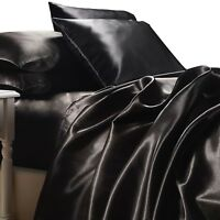 BLACK SATIN SHEETS KING Size 4pc Bedding Set Luxury Soft Silk Feel Bed Linen NEW
