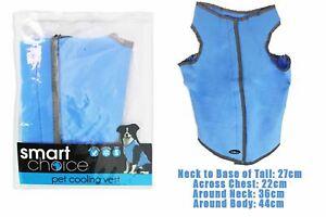Dog Pet Cooling Vest Jacket Reflective Water Resistant Cool Summer Small Blue