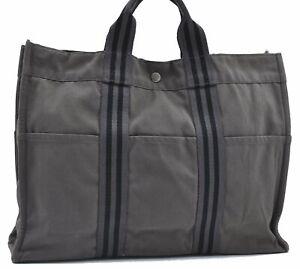 Authentic HERMES Fourre Tout MM Hand Tote Bag Canvas Gray E2289
