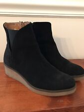 Matt Bernson Womens Frieze Black Wedge Ankle Boots Leather Suede 9.5 Nice