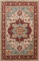 Floral Oriental Medallion Area Rug Wool Hand-Tufted 7x10 ft Traditional Carpet