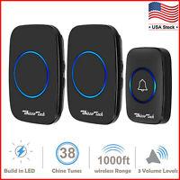 Wireless Doorbell Waterproof Door Chime 1 Remote Button+2 Plug-In Receiver Black