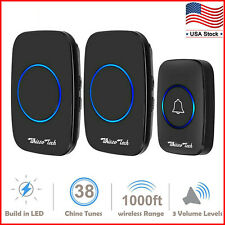Wireless Doorbell Waterproof Door Chime 1 Remote Button+2 Plug-In Receiver Black