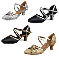 Zapatos de baile latino para mujeres Salón de baile Tango Salsa de tacón cerrado