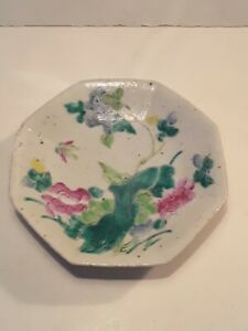 Antique Chinese Famille Rose Porcelain Footed Plate Signed