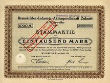 ZUKUNFT Braunkohlen-AG, Weisweiler, Stamm-Aktie, 1000 Mark, April 1922 Rheinland