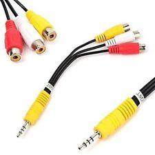 3.5mm Mini AV Plug Male To 3 RCA Female Audio Video AV Cable Jack Adapter *UK*