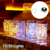 Mason Jar Couvercle Fairy String Éclairage LED à énergie solaire Lampe Garden SH