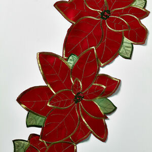 CHRISTMAS POINSETTIA TABLE RUNNER Stunning Embroidered Xmas Red Table Linen