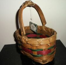 Vintage Rustic Country Wicker Basket Home Decor Arched Movable Handle Garden Isl