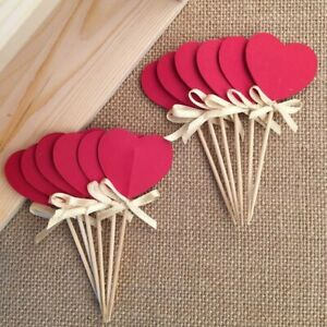 Bow&Double-Sided Red Heart Cupcake Toppers,Bridal Shower/Valentine Day/Wedding