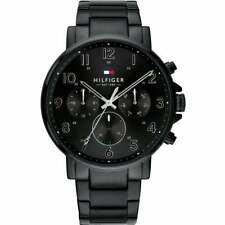 New Tommy Hilfiger Daniel Black Steel Day Date Mens Watch 1710383 Chronograph