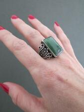 Vintage Russian Jade Filigree Silver Ring