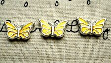 Butterfly charms 2 yellow silver pendant charm jewellery supplies C540