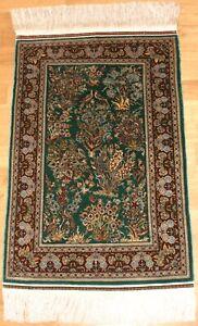 Türkischer Hereke Seidenteppich 14x14 Knoten - 86x55cm Silk Seda Neu
