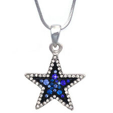 Clear Royal Blue Crystal Two Tone Color Star Pendant Necklace Bling Jewelry