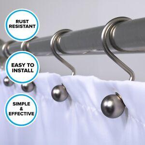 Brushed Nickel Decorative Ball Shower Curtain Hooks: 12 Rust Resistant Hooks