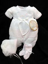 NWT Will'beth White Pink Flower Knit 3p Romper Newborn Baby Girls Bonnet Booties
