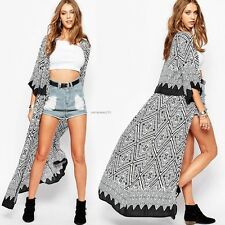Women Summer Boho Chiffon Kimono Sleeve Tops Cardigan Cover Up Long Coat Blazer!
