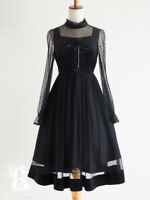 🌹abc une face🌹LaceUp Docking Midi Dress Black Lolita Japan F493