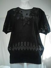 New Edition Ladies KnittedTop in Black with a Floral and Beaded Relief