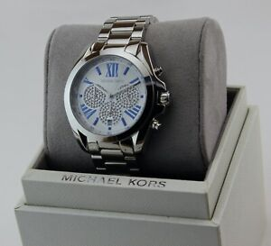 NEW AUTHENTIC MICHAEL KORS BRADSHAW SILVER CHRONO CRYSTALS WOMEN'S MK6320 WATCH