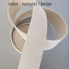 32mm Natural /Beige 100% Cotton CANVAS webbing strap tape Upholstery @ 1 Yards