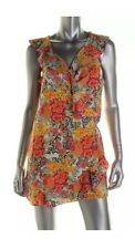 GUESS New Womens Orange Floral Print Ruffled Sleeves Wrap Romper Dress Skirt XS
