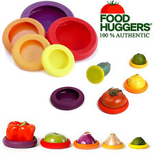Food Huggers Reusable Flexible Silicone Fruit Covers Vegetable Savers Jars x5