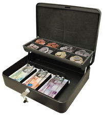 "Ultimate Cash Box 12"" For Petty Cash With Key Large Metal Lockable Tin Safe"