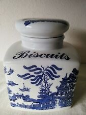 REGAL ENGLAND Blue Willow Biscuit Jar or Canister 8 inch Tall x 6 inch Square