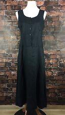 FLAX Black Small Linen Dress Lagenlook Minimalist Maxi Full Length Button Front