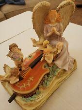 San Francisco Music Box Hark The Herald Angel Sing Violin Book Cherubs Figure