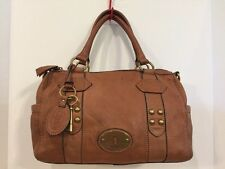 Fossil Beautiful Cognac Maddox Distressed Pebbled Leather Satchel Doctor Bag